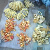 Mushrooms and Bananas at the Market