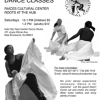 Roots at the Hub Dance Class Flyer